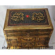 """11"""" China Chinese Palace Copper Gilt Dragon Phoenix Cabinet & Drawer Jewel box  ZMSX5036"""