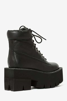 Jeffrey Campbell Nirvana Leather Boot - Black Square - Shoes | Lace-Up | Boots | Jeffrey Campbell