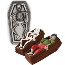 Skeleton in Casket 3-D Pan.  Oh I so need this pan.  Love the skeleton but you can't beat the undead.