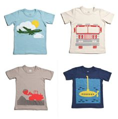 Very cool transportation tees for kids with retro-modern designs