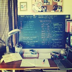 Studying is the Shit — I have a chalkboard wall, I should do this.