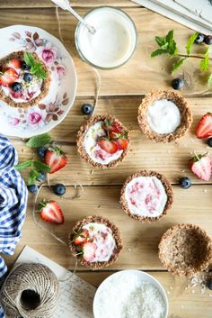 Coconut cups with yogurt and strawberries.Food photography & styling.