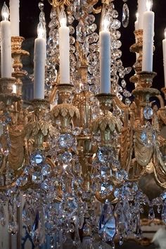Antique French Chandelier Dore Bronze and Crystal
