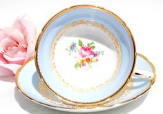Antique English Tea Cup and Saucer. Blue and Gold by EcoIdeology