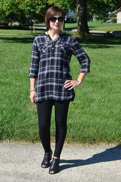 How to Style Black Ankle Boots for Fall with the perfect plaid tunic and black leggings Fall Fashion Outfits, Fall Fashion Trends, Autumn Fashion, Plaid Tunic, Black Ankle Boots, Mom Style, Black Leggings, Outfit Ideas, Chic
