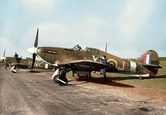 Hawker Hurricane Mk I, XR-J of No. 71 (Eagle) Squadron RAF, lined up with other aircraft at Kirton-in-Lindsey, Lincolnshire. Hawker Hurricane, Ww2 Planes, Ww2 Aircraft, Royal Air Force, War Machine, World War Two, Wwii, Fighter Jets, Aviation