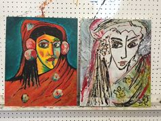 """My original on the right....Gypsy Girl....and artist friend's on the left....""""Tubing"""" exercise at  Judith Dazzio's Art Experience."""