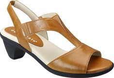 """David Tate Women's Shoes in Luggage Color. This cool comfortable sandal will take you through summer in style. Leather upper with elastic gored backstrap. Lightly cushioned footbed. Flexible outsole. 2-1/4"""" heel height #DavidTate #luggage #shoes #fashion #style"""