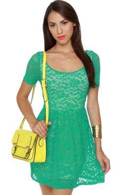 Gazebo Get-Together Teal Lace Dress