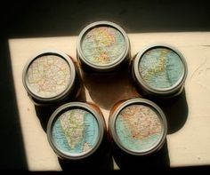Decorate jar lids with maps for gift giving.