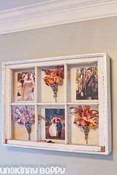 My old wooden window shadowbox.  Such a pretty way to display wedding pics and bouquet.
