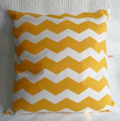 Cushion - Pillow Cover in Geometric Chevrons - Yellow - White Cotton. $10.50, via Etsy.