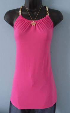 New Michael Kors Gold Chain Halter Top Radiant Pink Size XL #MichaelKors #Halter