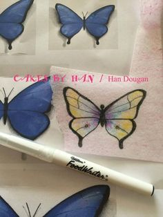 Hi, there ! This is how i make wafer paper butterfly. First, i print out some different size of butterfly on a piece of paper then i trade wafer paper on top . I used food color pen to trade on wafer paper and color with edible dust. I'm finish...