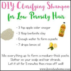 diy clarifying shampoo for natural hair. This is a great hair clarifier for low porosity hair!