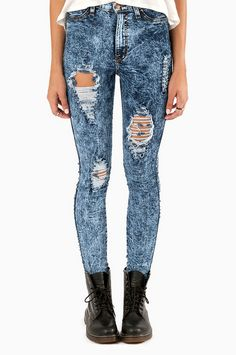 Vibrant M.I.U Grippa High Waisted Acid Jeans ~ TOBI - why do i find these jeans AND the boots so adorable?!