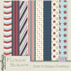 Stars N Stripes Overlays - $3.99 : Digital Scrapbooking Studio