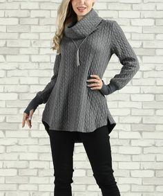 Loving this Gray Cowl Neck Tunic - Plus Too on #zulily! #zulilyfinds
