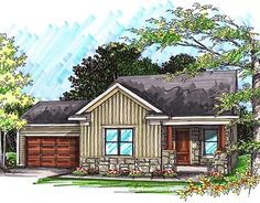 House Plan 1264 square feet with a garage. Two bedroom, two bath home with large rooms. A lot of house for small footprint. Love the exterior style. Ranch House Plans, Cottage House Plans, Grandma's House, Cottage Living, House Floor, Cottage Homes, Living Room, Porch Grill, Vertical Siding
