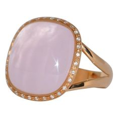 Pink Quartz And Diamonds Pink Gold Ring (1873740 IQD) ❤ liked on Polyvore featuring jewelry, rings, cocktail rings, pink, pink gold diamond rings, pink ring, pink rose gold ring, diamond cocktail rings and quartz ring