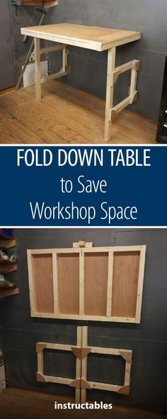 Fold Down Table - to Save Workshop Space  #woodworking #workshop #furniture