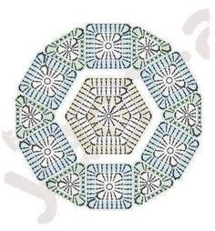crochet hexagon, triangles and squares Crochet Cushions, Crochet Quilt, Crochet Mandala, Crochet Tablecloth, Crochet Home, Crochet Doilies, Crochet Flowers, Crochet Motif Patterns, Granny Square Crochet Pattern