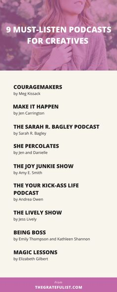 9 must-listen podcasts for for soul-connected yet stressed-out creatives & recovering perfectionists - I 'discovered' podcasts a little less than a year ago and it's quickly become my go-to tool for 'aha!' inspirational moments and 'wow, I'm not alone in this!' moments of connection with fellow creative entrepreneurs and recovering perfectionists. Click through to find out my 9 favorite podcasts. It comes with a FREE tools and resources guide with even more resources to help you get started…