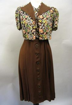 Brown floral day dress and jacket, 1930's.