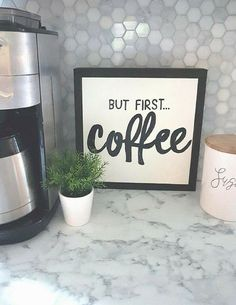 """But first coffee mini 12x12"""" sign, coffee bar sign, office decor, coffee bar sign, farmhouse sign, gallery wall art, wooden frame sign, farmhouse kitchen decor, rustic sign, rustic decor, gift idea, home decor #ad"""