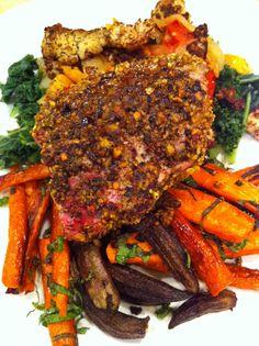 Lamb loin chops w. cumin on oven roasted veggies - yum yum
