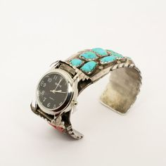 Zuni Designed Turquoise, Coral, and Sterling Silver Southwestern Watch Cuff Bracelet with New, Working Watchface and Stunning Gemstones