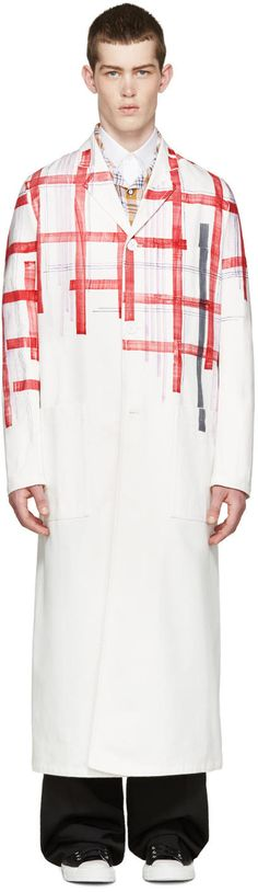 Image of Raf Simons White Fragmented Plaid Coat