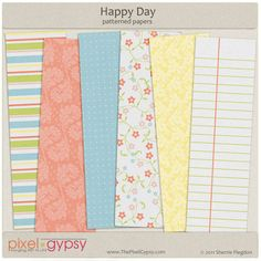 Happy Day Patterned Papers Free Digital Scrapbooking Download