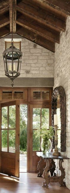 Those limestone walls, & that wooden beamed ceiling.