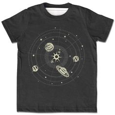 Kids Glow in the Dark Solar System Shirt, short sleeve heather black with metallic ink, stars planets, space and science tshirt, rad gift