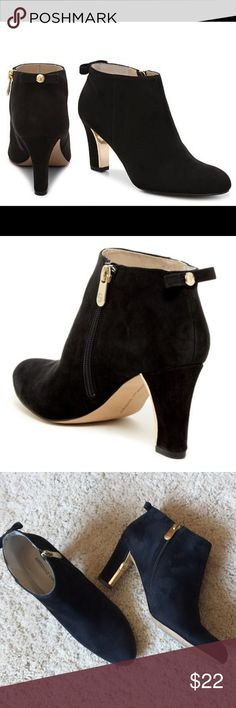 """Adrienne Vittadini Kalino Black Ankle Boot Almond toe*Suede construction* Side zip closure* Gold toned metallic heel detail*Bow applique on back of heel* Approx. 3"""" heel Imported Materials* size 6.5 - true to size* Leather upper manmade sole* excellent condition Adrienne Vittadini Shoes Ankle Boots & Booties"""