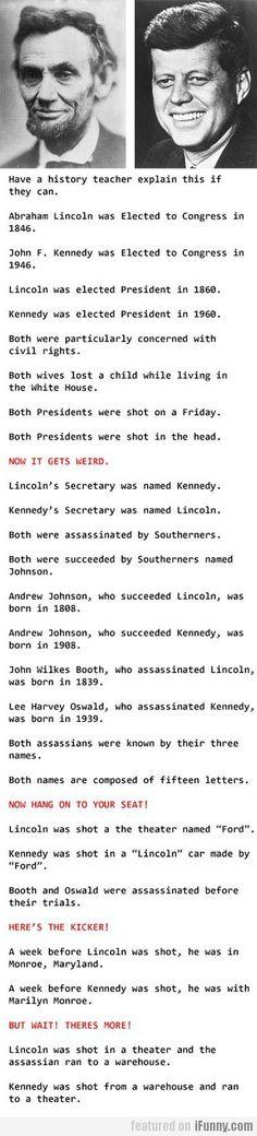 Las coincidencias entre Kennedy y Lincoln. Jamás dejarán de asombrarme (en inglés).