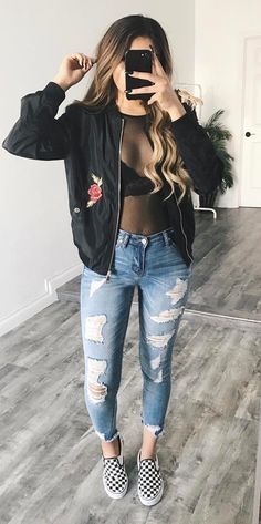cool outfit idea bomber jacket + rips