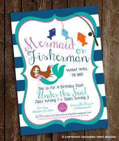 Mermaid & Fisherman Birthday Invitation  Mermaid by SouthernTwist1