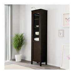HEMNES Cabinet with panel/glass door, black-brown black-brown 19 1/4x77 1/2