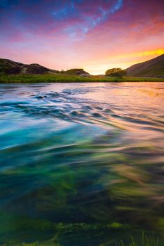 Nightsong at the river // Daybreak at the beautiful Red Hills by River Laxá in Aðaldalur Valley, North Iceland.