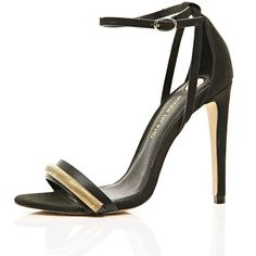 River Island Black barely there with chain detail (125 RON) ❤ liked on Polyvore featuring shoes, heels, high heels, river island, sapatos, sale, chain pump, black court shoes, black shoes and high heel shoes