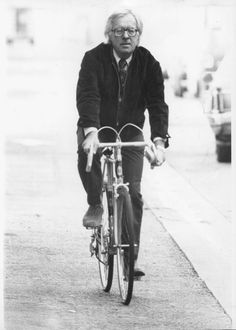 Ray Bradbury on a bike!  Though he lived in Los Angeles, Bradbury never obtained a driver's license but relied on public transportation or his bicycle. [In the years before I learned to drive (at age 40), I took comfort in the fact that someone of the stature of Ray Bradbury didn't drive either.]