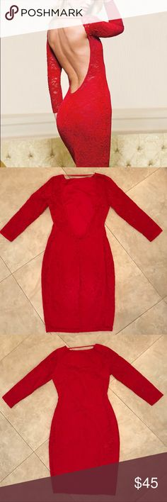 Victoria's Secret Backless Red Lace Dress Sexy Backless Red Dress Victoria's Secret Length 35in Size S Victoria's Secret Dresses Backless