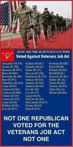 Republicans stated that the bill was not paid for and voted against moving it forward. Senator Tom Coburn (R-Okla.) opposed the bill since it duplicated existing job programs for veterans.       -This bill was brought up by the Dems to make Republicans look bad right before the 2012 election. Pin is somewhat misleading.