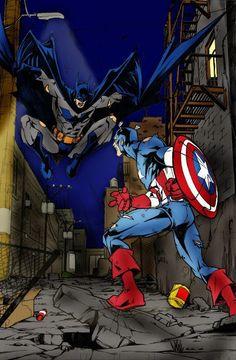 Batman vs Cap. America Color by ~sinninginheaven on deviantART