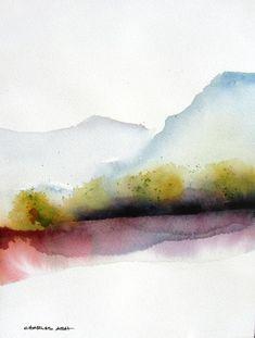 Watercolor Water, Watercolor Painting Techniques, Watercolor Paintings Abstract, Watercolor Trees, Watercolor Landscape, Abstract Landscape, Landscape Paintings, Watercolor Artists, Watercolor Portraits