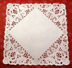 Set of 50 Fancy 8 inch square French Lace paper doilies for decorating, food display, plates, gift baskets. $8.95, via Etsy.