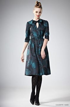 Leona Edmiston Claudette Navy Blue Green Bow Vintage Tea Shirt Dress 14-16 50s