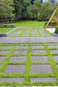 Grass Growing Between Concrete Pavers in Public Parks Landscaping Stock Photo Cement Pavers, Grass Pavers, Concrete Backyard, Cobblestone Driveway, Outdoor Rooms, Outdoor Decor, Outdoor Living, Backyard Pool Designs, Outside Living